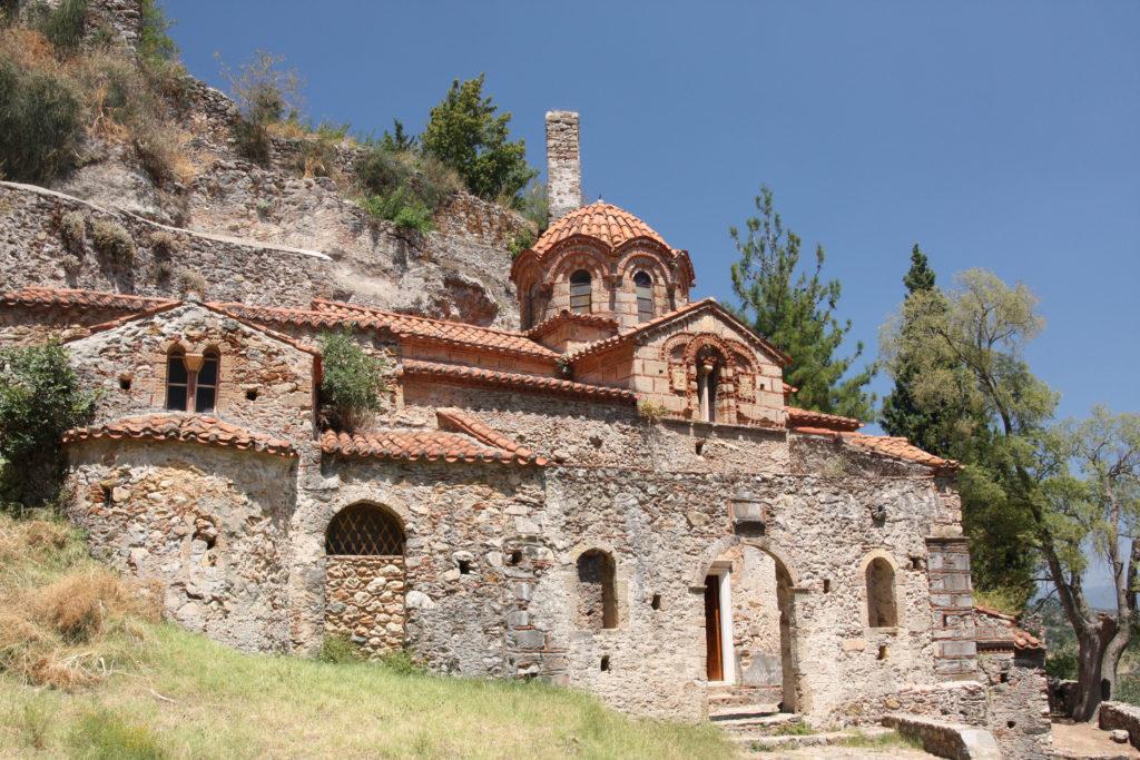 Grèce - Péloponnèse, Mistra, Plongée sur Eglise d'Hodighitria